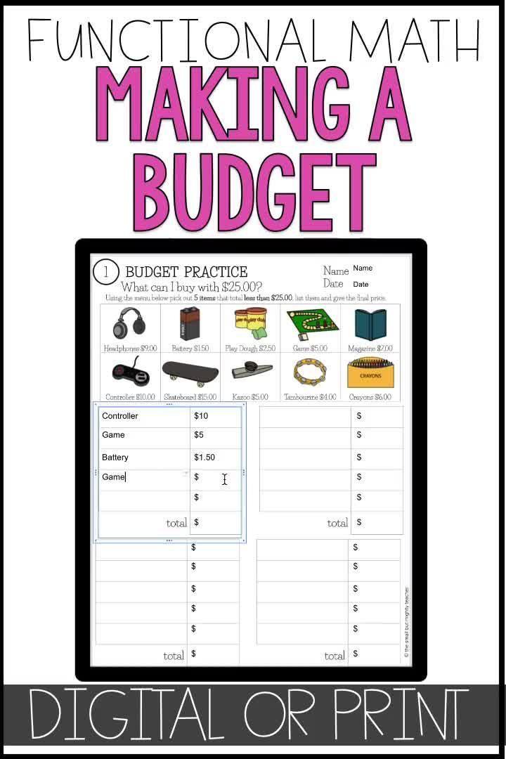Budget Up To 5 Math Worksheets Video Video Money Skills Math Worksheets Budgeting