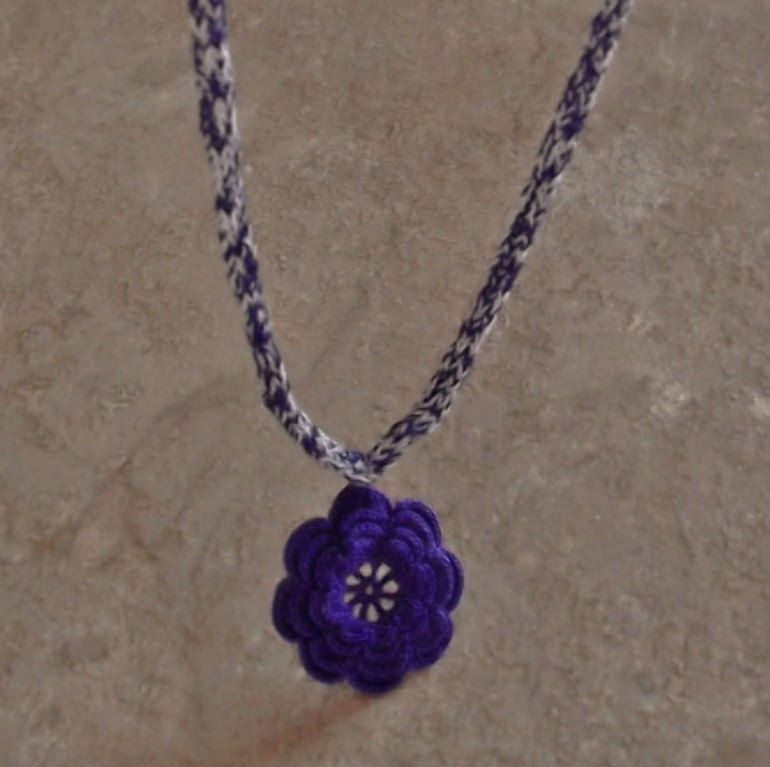 Necklace Delicate Crochet Purple flower On a Knit I Cord