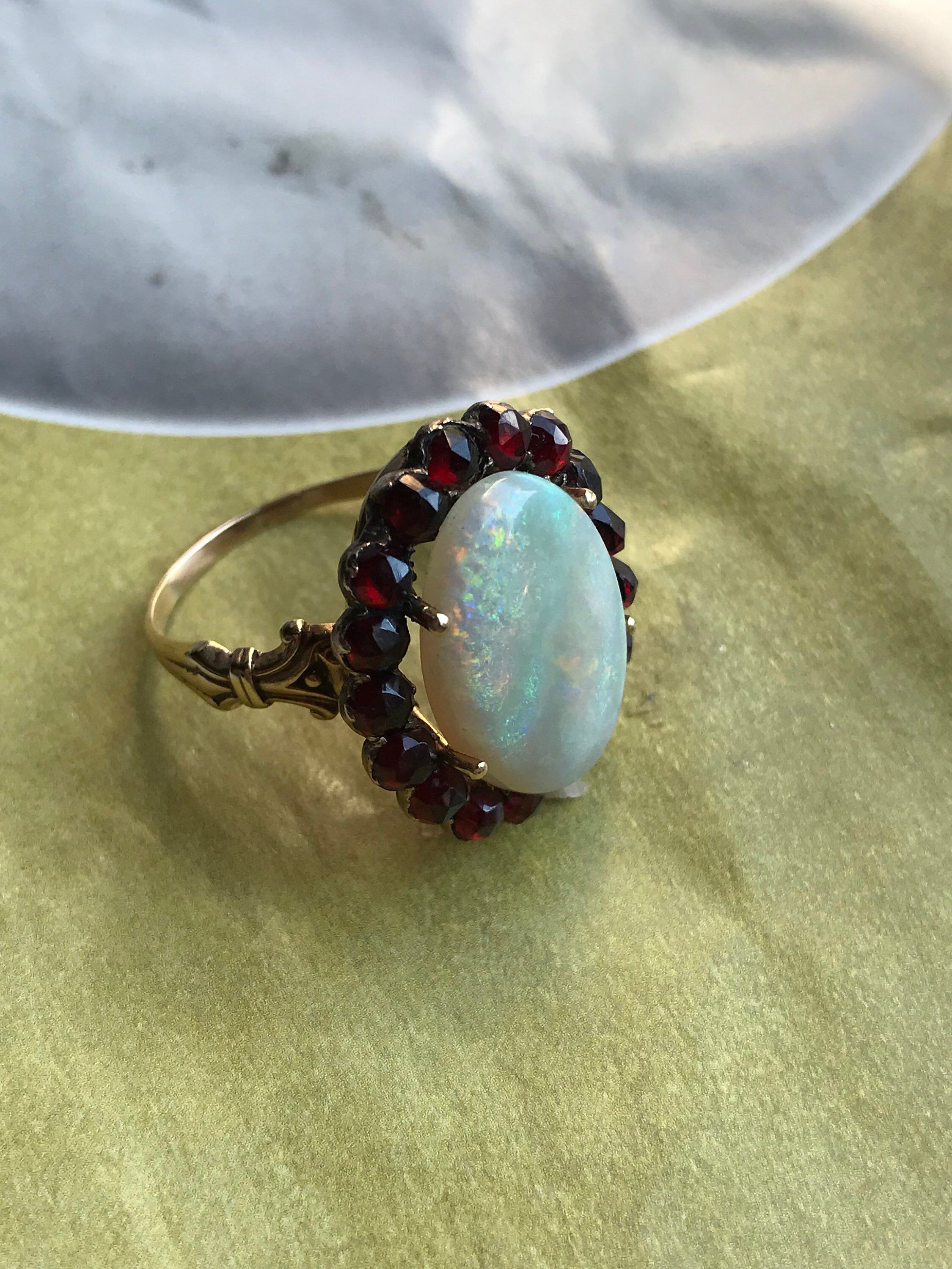 9ebe69e092b Excited to share this item from my  etsy shop  Large Opal Vintage Rose Cut  Garnet 1920 s 14k Ring
