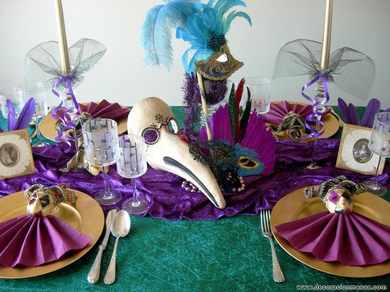 Decoraci n mesa como tema carnaval carnaval de venecia - Mascaras venecianas decoracion ...