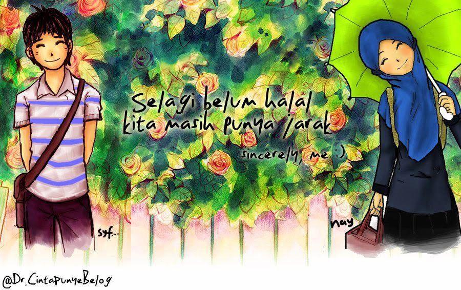 35+ Gambar Kartun Romantis Islami Suami Istri
