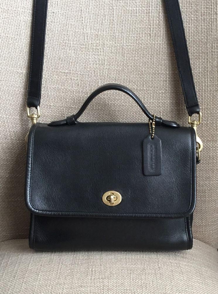 0741051c2162 Vintage COACH Court Black Leather Crossbody Handbag Purse 9870  Coach   Crossbody