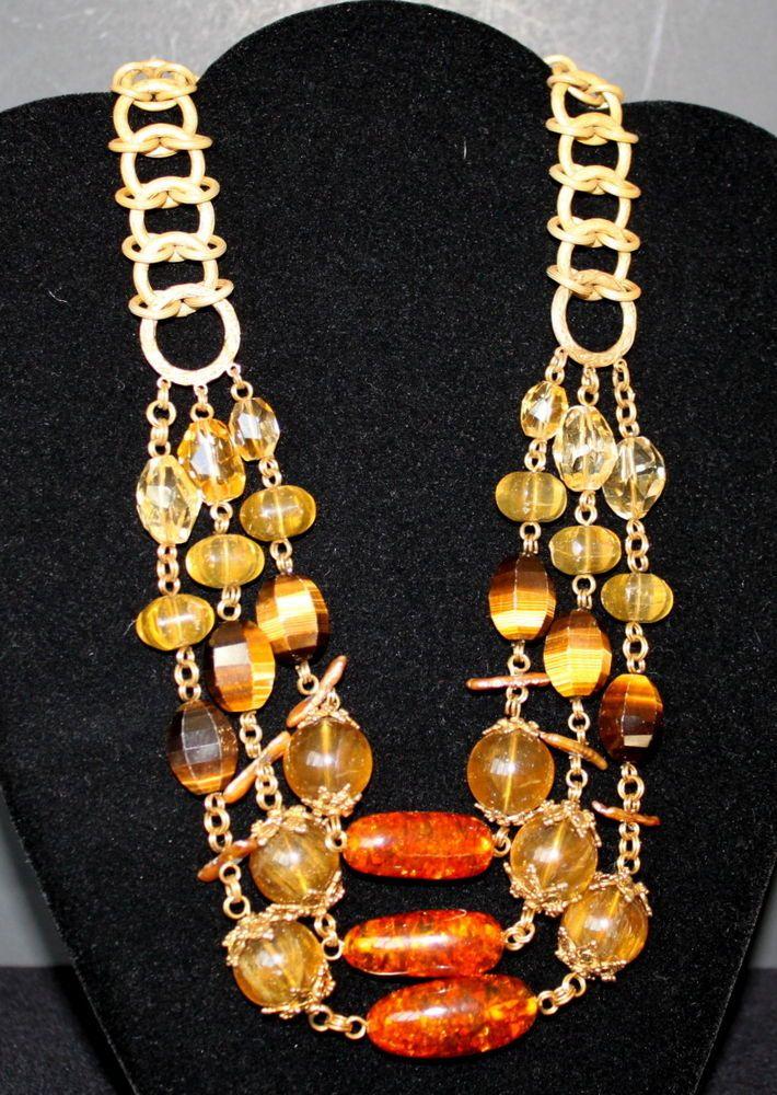Stephen Dweck Amber Multi Semi-Precious Stones 3 Tier Bronze Chain Signed GIFT #StephenDweck #Statement