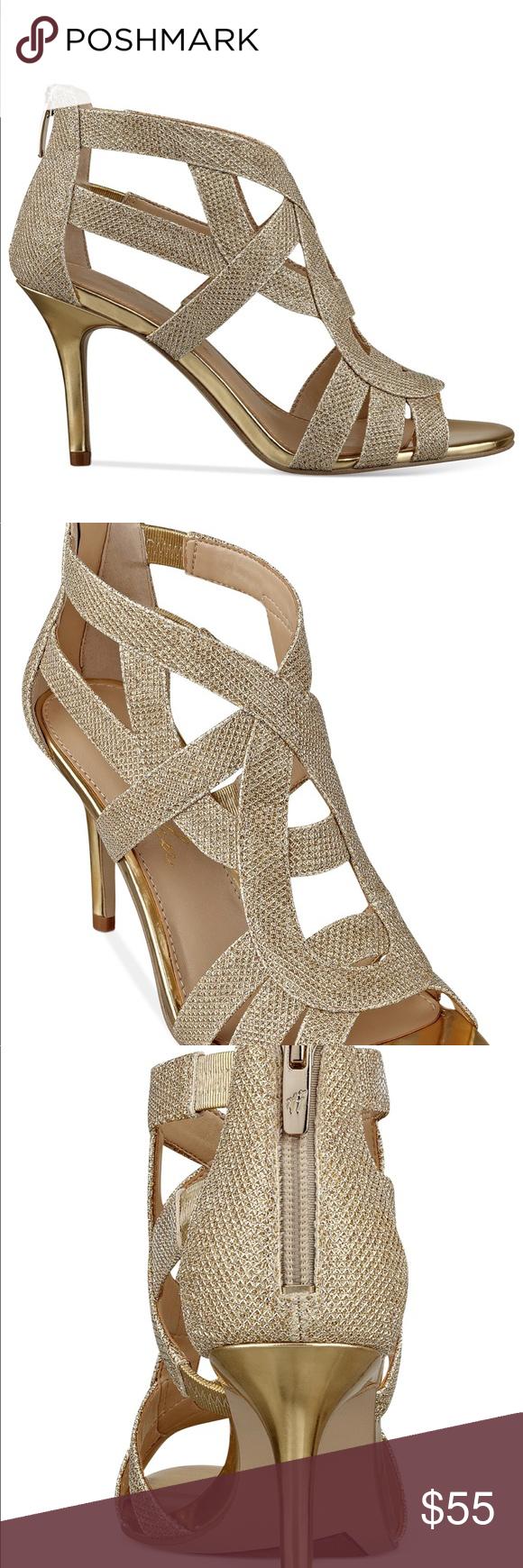 dba1908f15de Marc Fisher Nala Evening Sandal Gold 6.5 Marc Fisher Nala Mid Heel Evening  Sandals Gold -