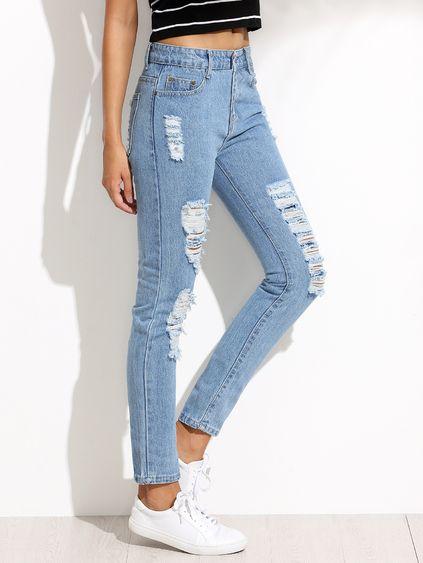 21ad7e42 Pantalones rotos hilos denim - azul claro | Moda primavera en 2019 ...