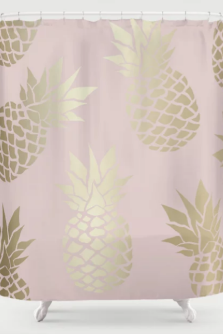 Pretty Bathroom Ideas Tropical Pineapple Pastel Blush Pink And