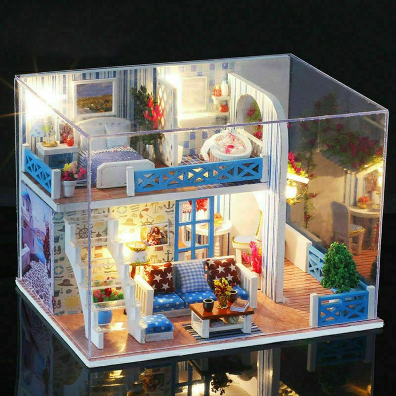 WOOD MINI DOLL HOUSE// TOY BOX  FOR YOUR DOLL HOUSE