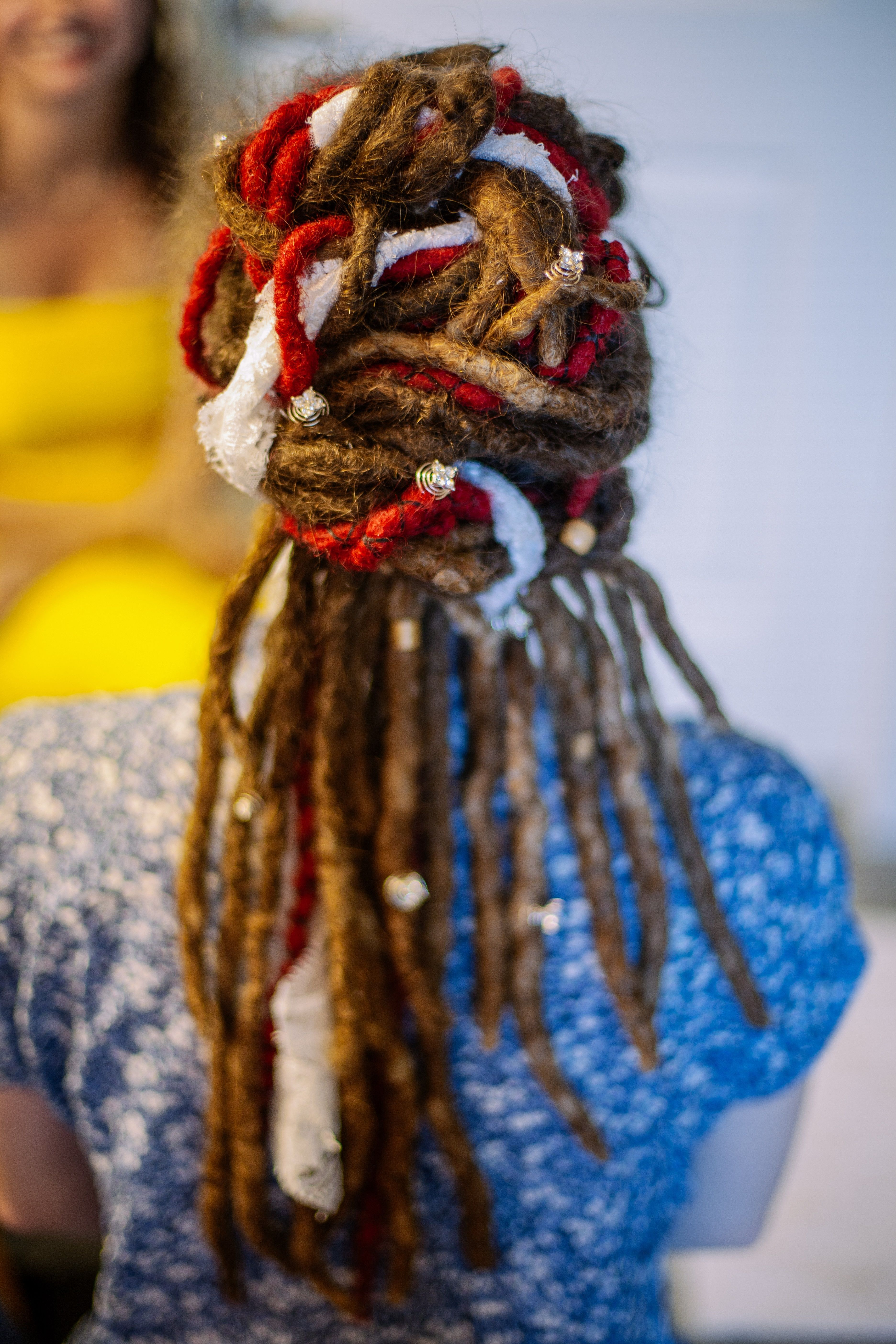 Dreadlock wedding hair with lace woven into the dreads gorgeous