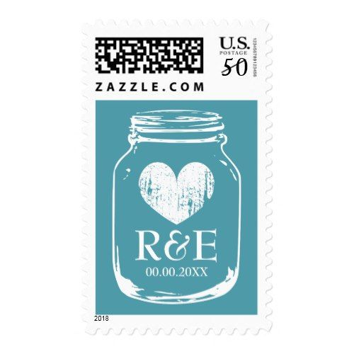 Vintage teal mason jar 49 cent wedding stamps   Zazzle com