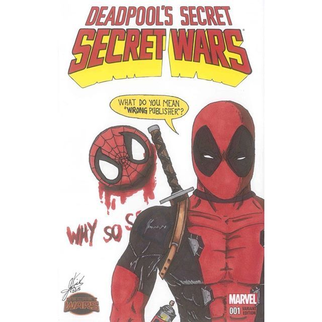#deadpool #secretsecretwars #sketchcover #art by #JKova #marvelcomics #marvel #sketch