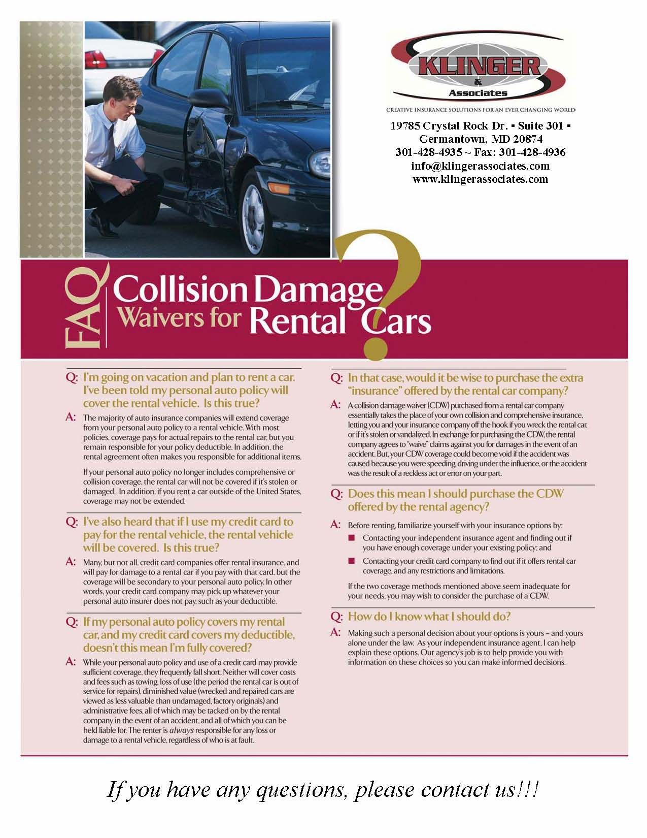 Faq Collision Damage Waivers For Rental Cars Carinsurance Insurance Claim Coverage Car Insurance Insurance