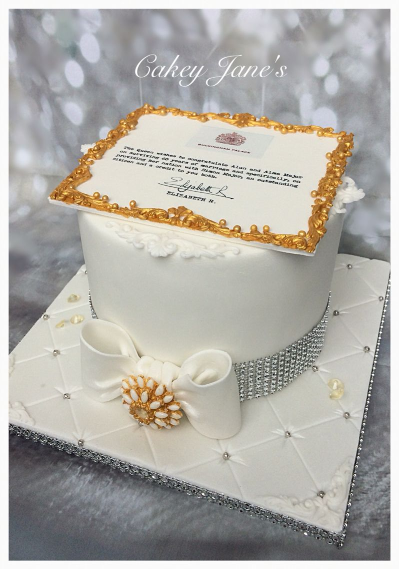 Diamond Anniversary Letter From The Queen Celebration Cake