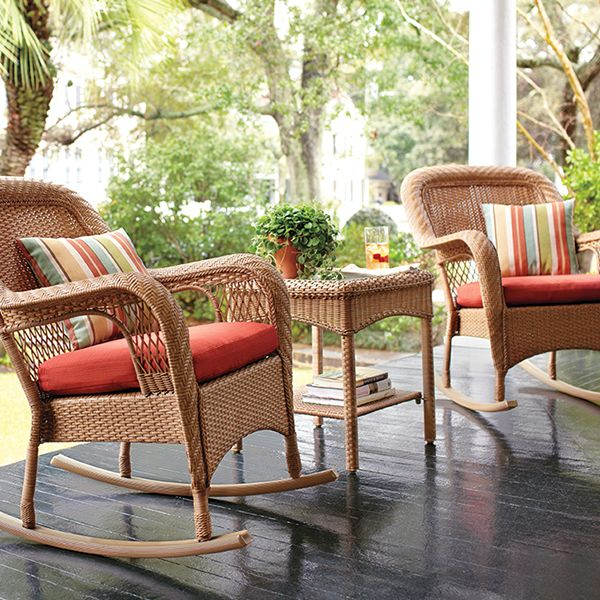 Martha Stewart Living™ Charlottetown Natural All Weather Wicker Patio  Rocking Chair With Quarry Red