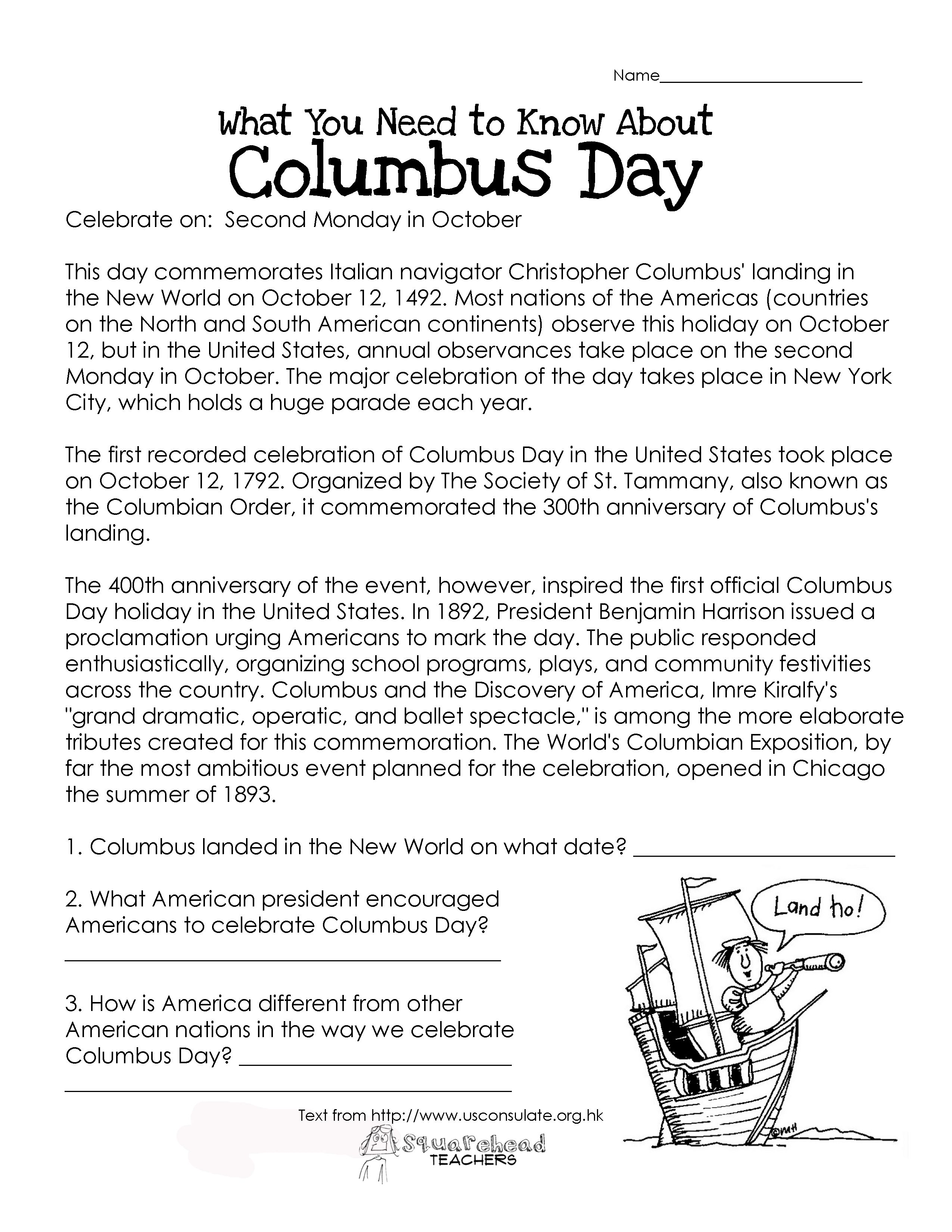 medium resolution of Here's an easy free comprehension worksheet about the history of Columbus  D…   Reading comprehension worksheets