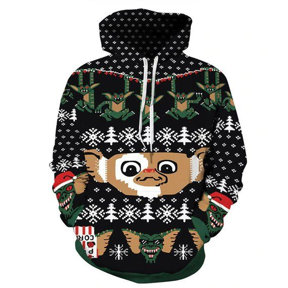 Gremlins Ugly Sweater Print Hoodie Ugly Christmas Sweaters