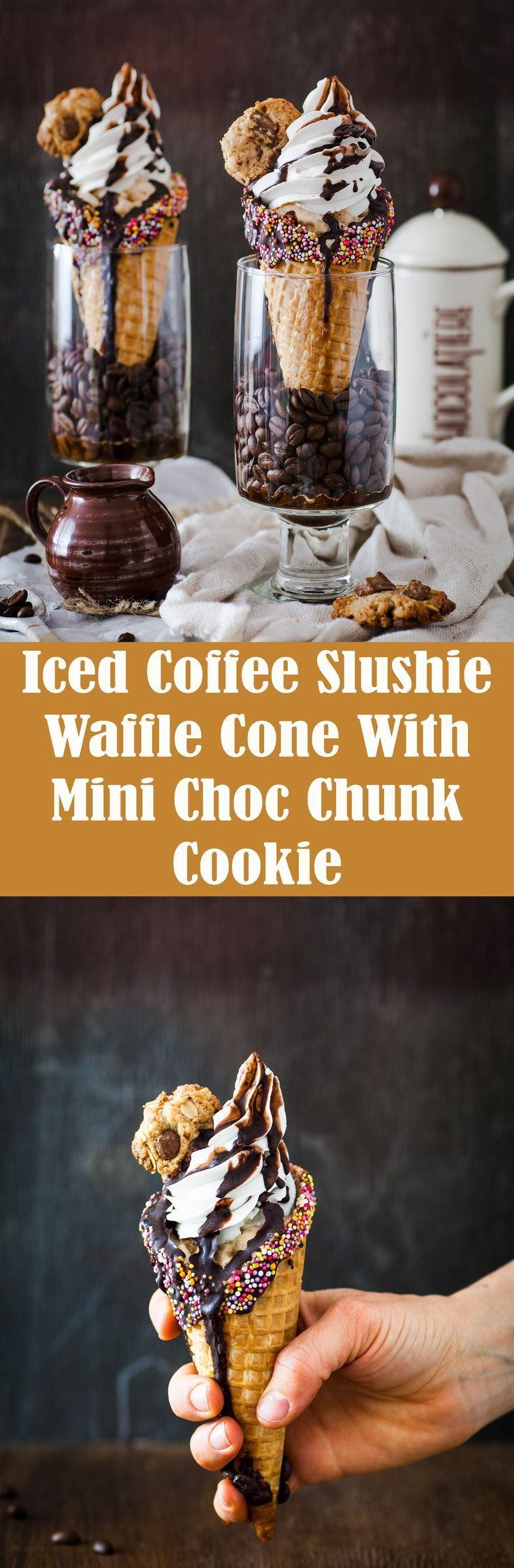 Iced Coffee Slushie Waffle Cone With Whipped Coconut Cream