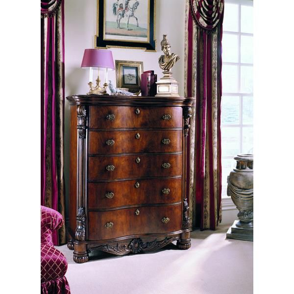Pulaski Edwardian Five Drawer Chest 242124. h1Pulaski Edwardian Five Drawer Chest 242124_h1pThe Pulaski Edwardian Five Drawer Chest 242124. A touch of Victorian era exuberance such as foliate flourishes, acanthus leaves and cameo motifs give this traditional grou.. . See More Chests at http://www.ourgreatshop.com/Chests-C698.aspx