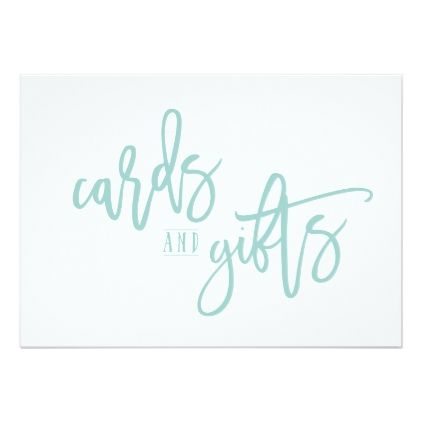 5x7 cards gifts brush script light turquoise wedding