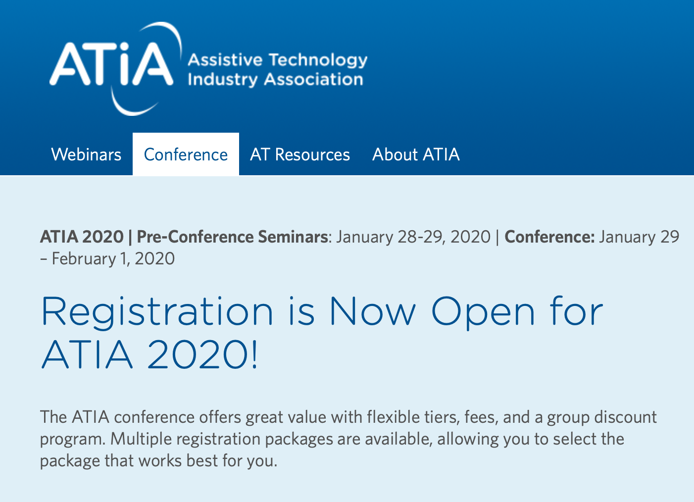 Atia Conference 2020 Technology Industry Assistive Technology Register Online