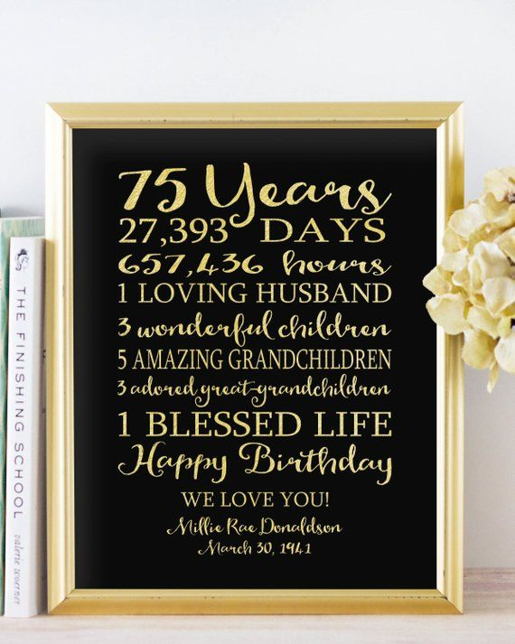 75th BIRTHDAY Sign Birthday Canvas GIFT Personalized 75 Years Dad Birthday Grandpa Birthday Faux Gold Foil Black OR Keepsake Custom Banner