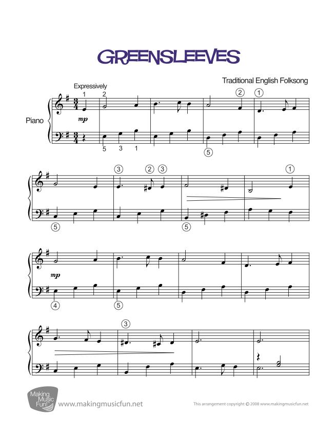 Piano immortals piano sheet music : Greensleeves | Sheet Music for Piano (Digital Print) | sheetnhac ...