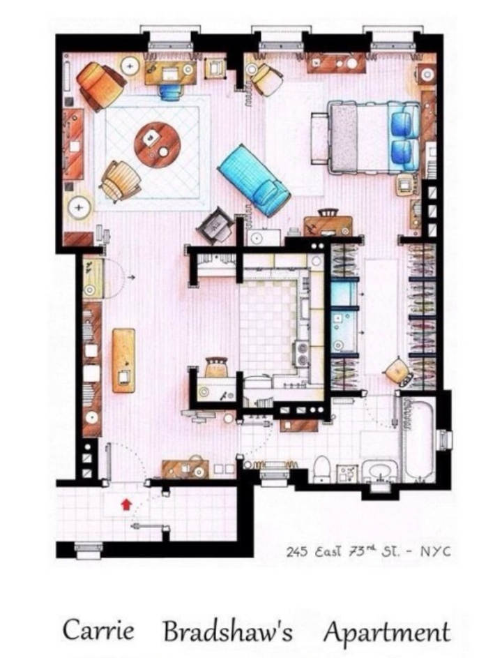 Pin by name on floor plans in 2019 carrie bradshaw - Carrie bradshaw apartment layout ...