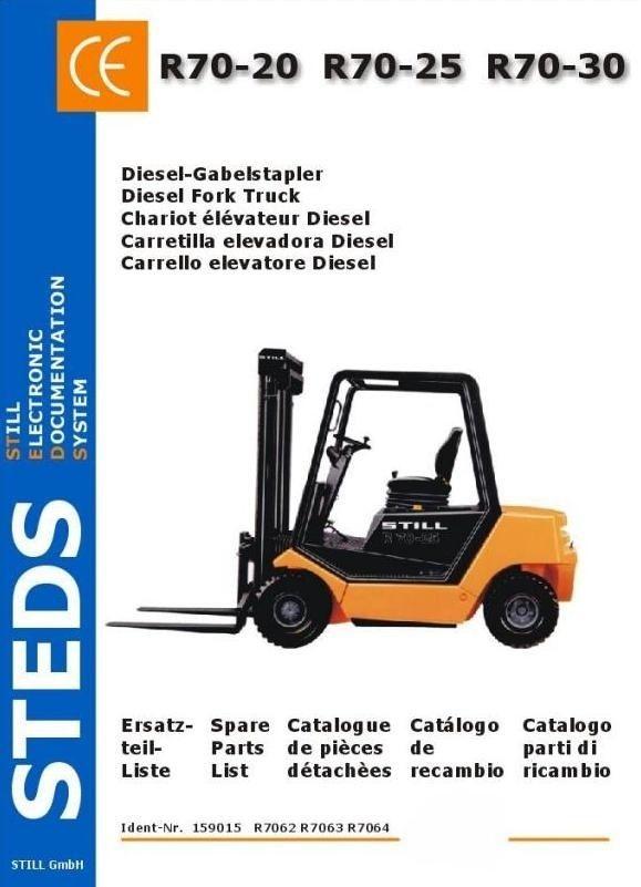 Original Illustrated Factory Parts Manual For Still Diesel Fork Truck Type R70