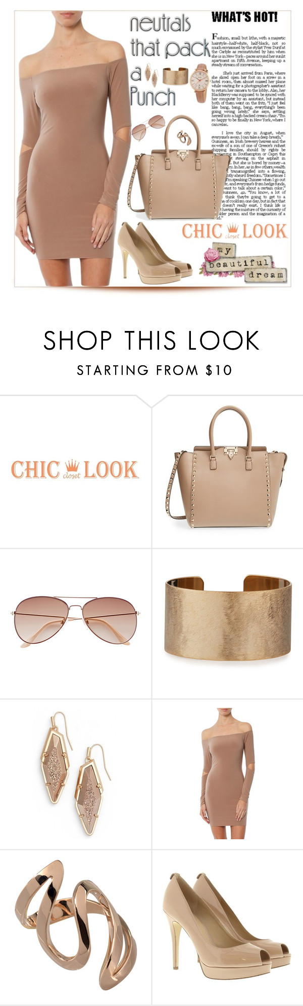 """""""Cool Neutrals"""" by purplerose27 ❤ liked on Polyvore featuring Valentino, H&M, Panacea, Kendra Scott, MICHAEL Michael Kors and FOSSIL"""