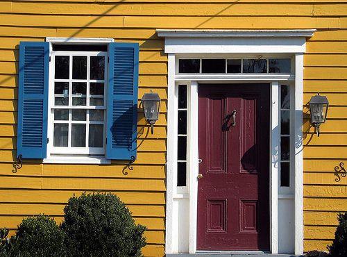 Red Door Blue Shutters Yellow House Dark Blue Houses Blue