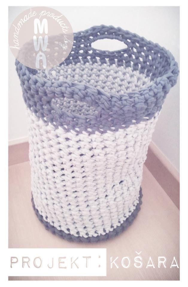 Unique Handmade Crocheted Basket 55cm 15mm Crochet Hook T Shirt