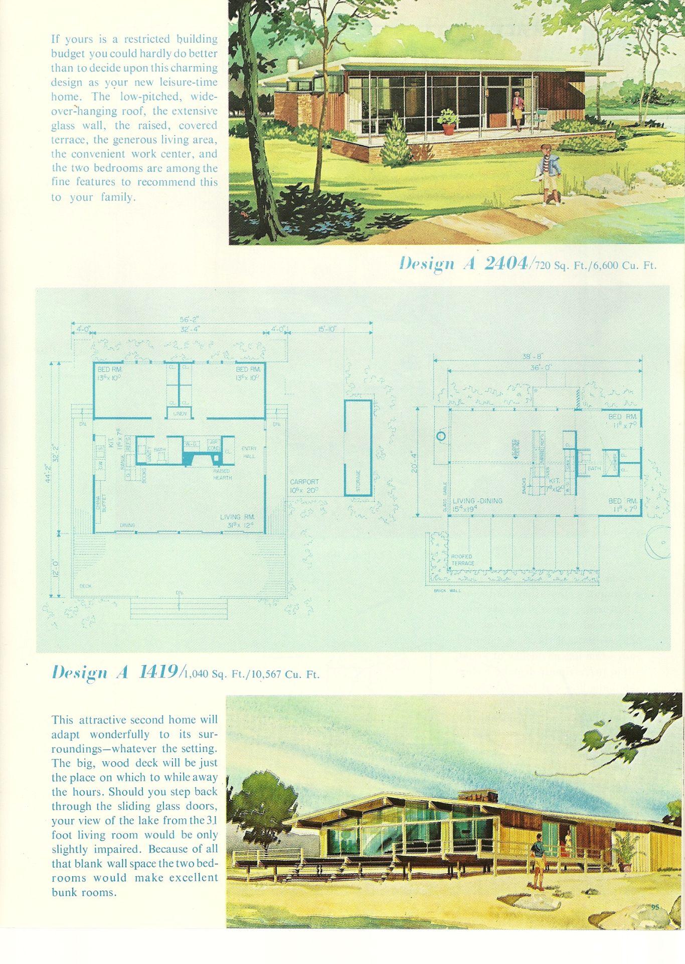 Vintage Vacation Homes 149 Vintage House Plans Vacation House Plans Mid Century Modern House Plans