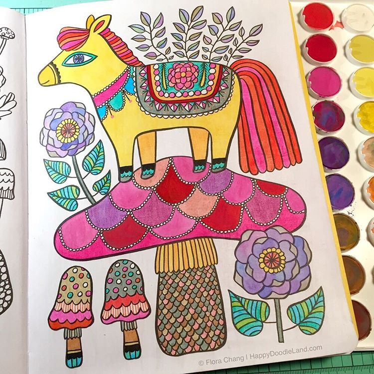 Finished Coloring Page From Flora Changs Happy Doodles Posh Book