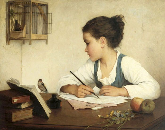 A Girl Writing. Henriëtte Browne. 1829-1901, French