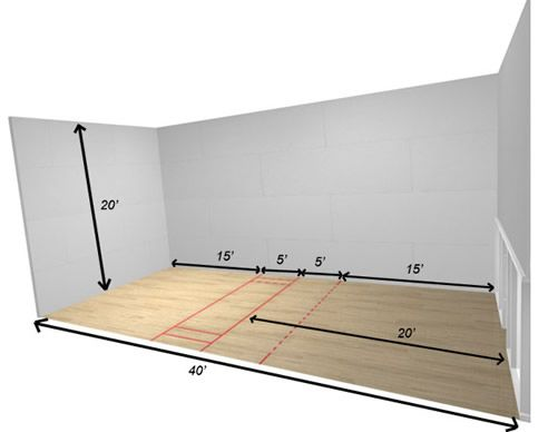 Racquetball and squash racquetball squash pinterest for Sport court size