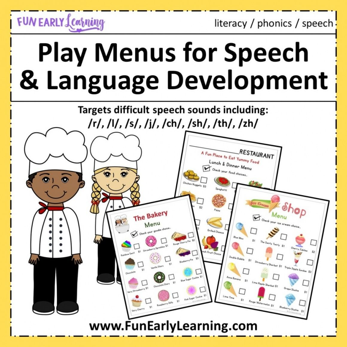 Play Menus For Speech And Language Development With