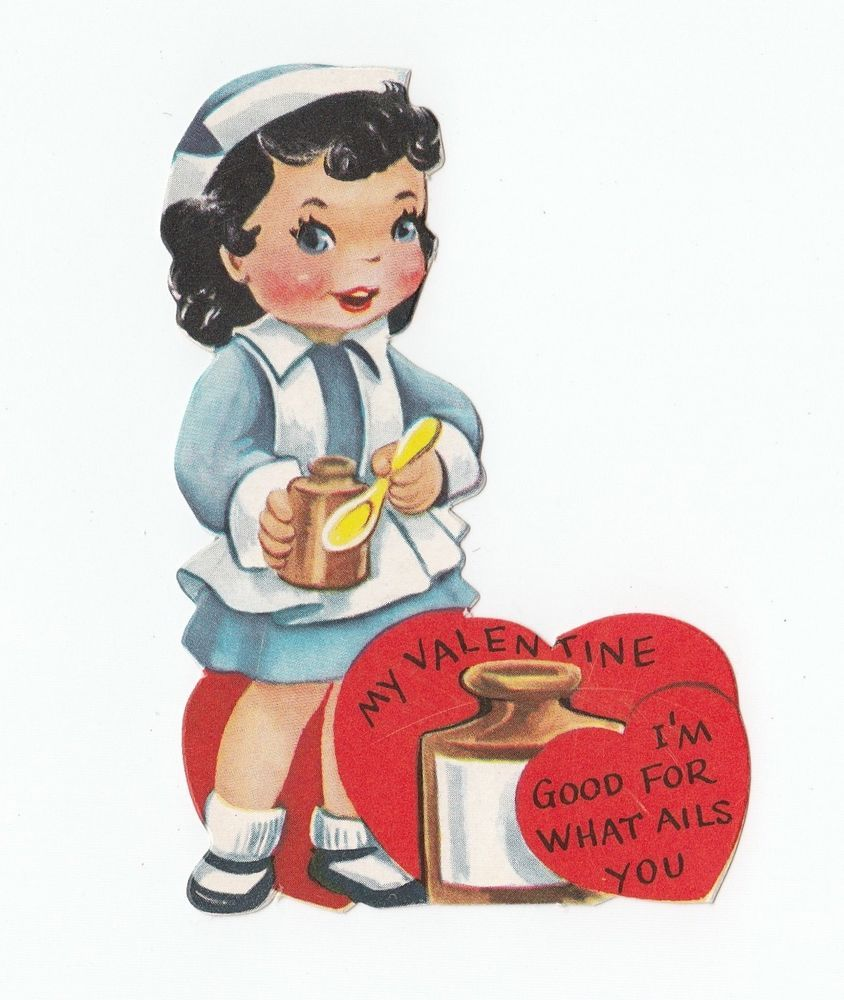 Vintage Greeting Card Valentine's Day Die-Cut Cute Little Girl Nurse Medicine