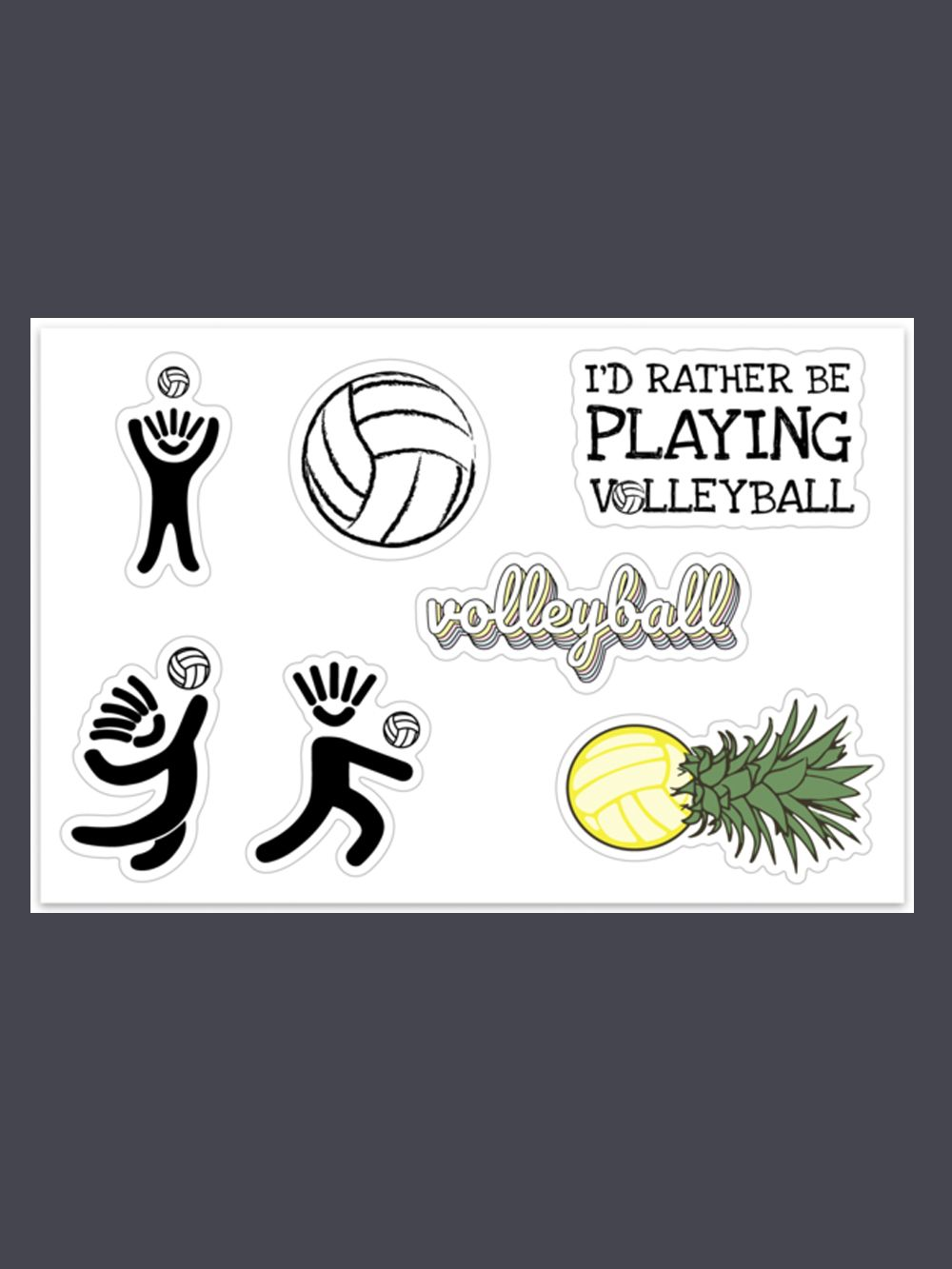 I D Rather Be Playing Sticker Pack Volleyball Aesthetic Stickers Cute Stickers