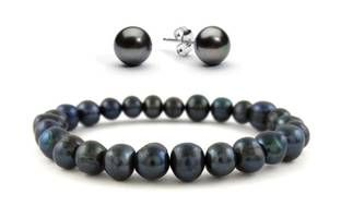 image for Genuine Freshwater Pearl Stretch Bracelet and Earring Set