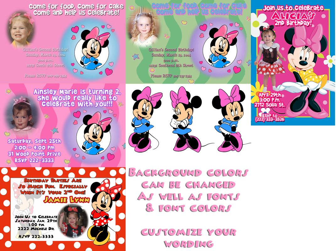 free minnie mouse printables | ... Party Invitations Cards. Mickey ...