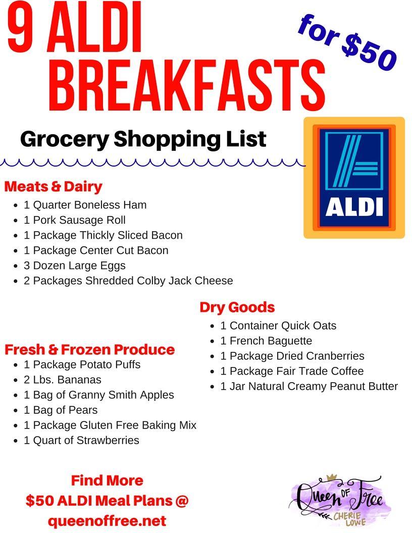 50 aldi breakfast meal plan money savers meals meal planning