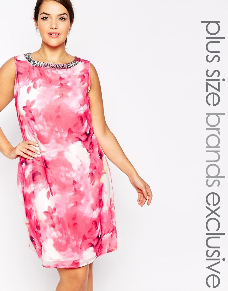 Little Mistress Plus Rose Printed Shift Dress   The Fashion Curve ...