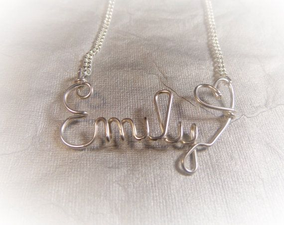 Name necklace, valentines day, sterling silver, heart, sister gift, bbf gift, jewelry gift