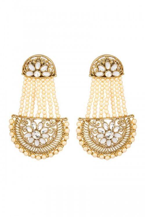 Latest Fl Pattern Stone Studded Jumka Earrings Online