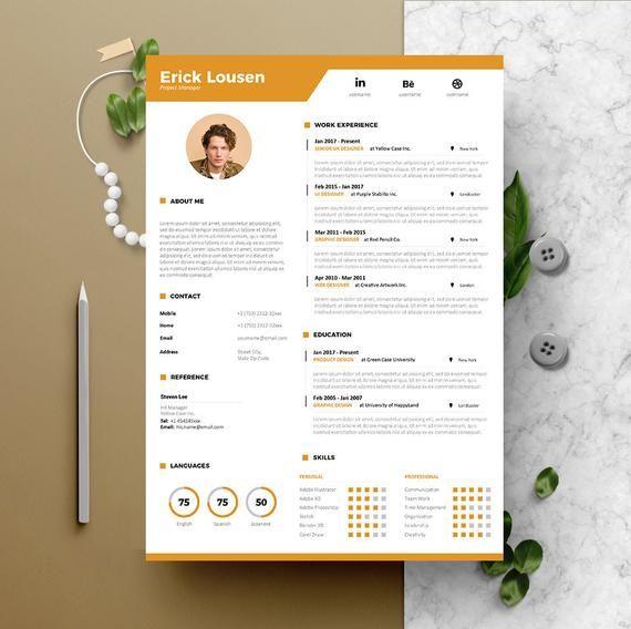 Resume Template Instant Download 2 Pages Cv Template Cover Letter Diy Printable Professional And Creative Resume Design Cv Creatif Cv Creatif Modele Cv