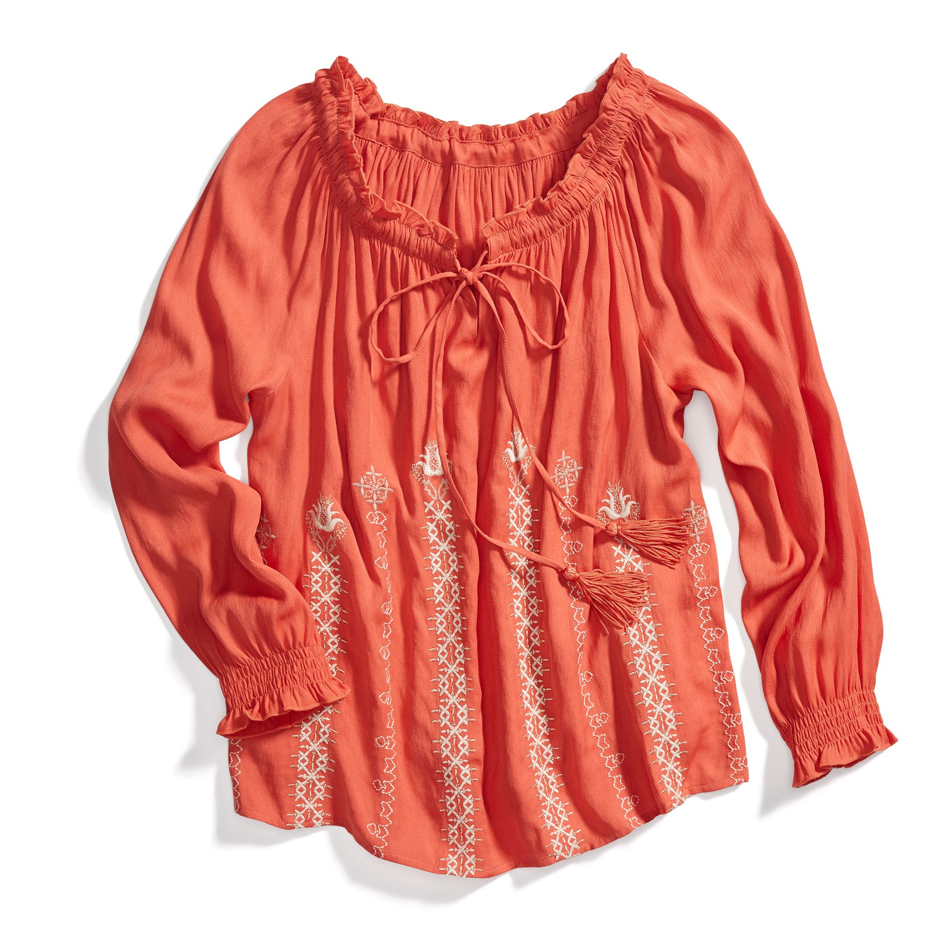 Stitch Fix Boho Style: Embroidered Tie-Neck Top