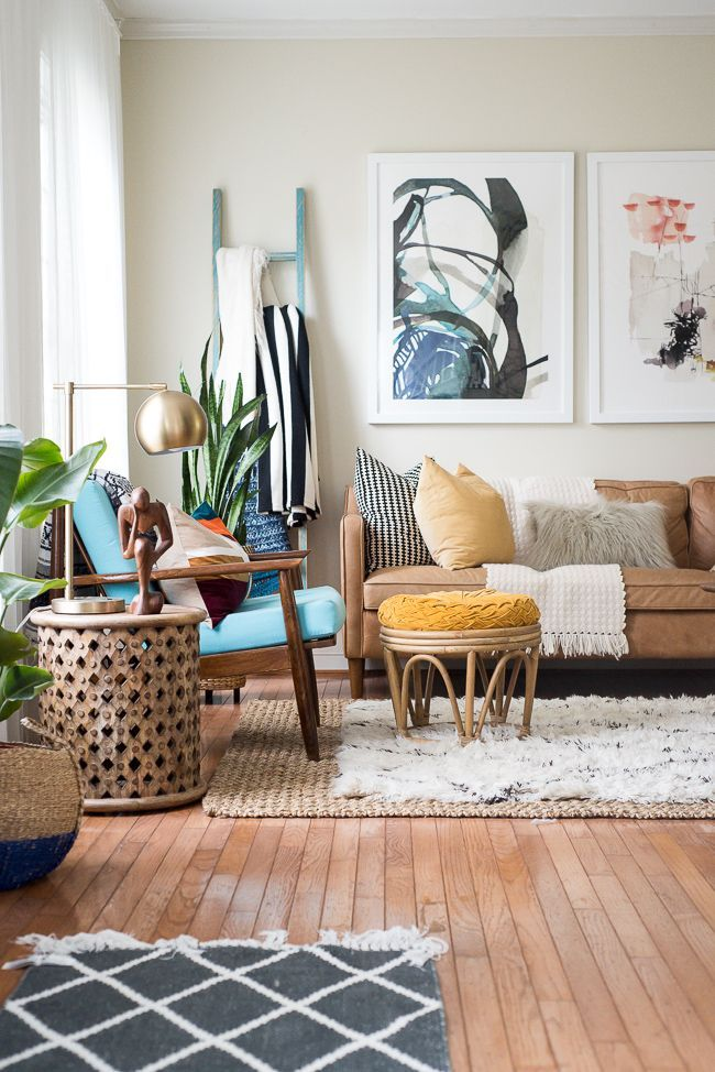 This Eclectic Home Tour Is Simply Inspirational Love How She Uses Bright An Eclectic Living Room Modern Farmhouse Living Room Decor Boho Living Room