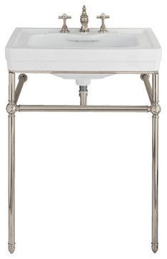 Pedestal Sink With Metal Legs Hermitage Console 92 Metal Legs Traditional Bathroom Sinks Small Bathroom Sinks Traditional Bathroom