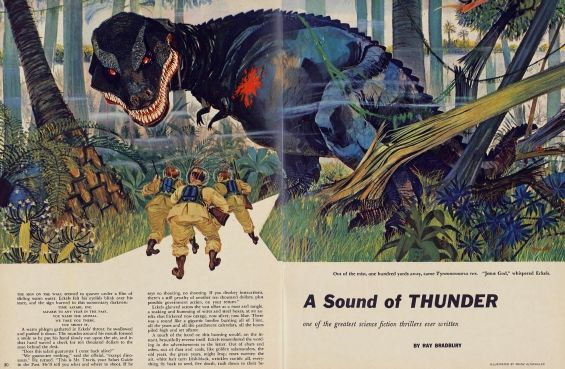 a sound of thunder how does Summary of a sound of thunder this is an exciting and thrilling sci-fi story involving time travel back to the dinosaur age a man named eckels pays $10,000 to travel back in time in order to hunt a dinosaur.