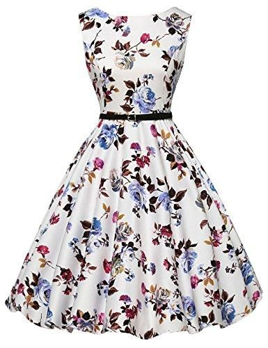 00adec769aab0d GRACE KARIN Boatneck Sleeveless Vintage Tea Dress With Belt