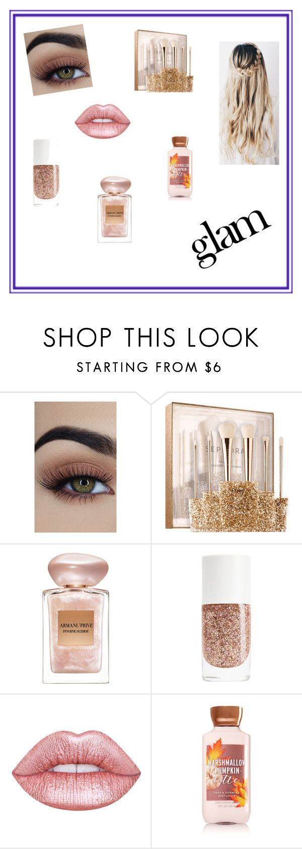 """""""Glam MakeUp"""" by chloestar1612 ❤ liked on Polyvore featuring beauty, Sephora Collection, Giorgio Armani and Naeem Khan"""